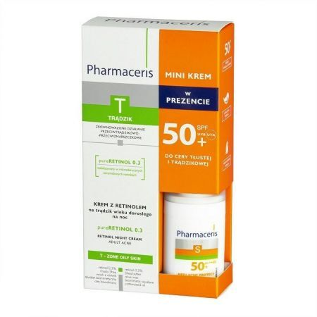 Pharmaceris T zestaw krem z retinolem, 40 ml + mini krem ochronny SPF50+, 15 ml